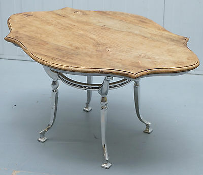 Stunning Chrome Silver Plated Coffee Table With Natural Stripped Oak Top Lovely!