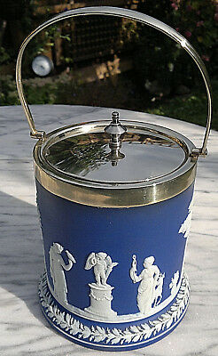 Antique Wedgwood Biscuit Barrel Blue Jasperware Silver Plated Mint Condition