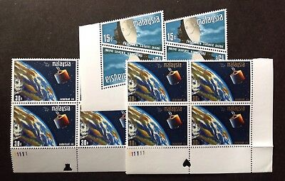 Malaysia 1970 Satellite Earth Station Set In Blocks Of 4 Mint Mnh