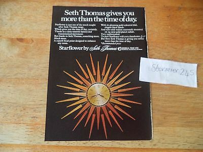 SETH THOMAS STAR FLOWER CLOCK  VINTAGE MAGAZINE original AD  1970's
