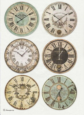 Rice Paper - Clocks - for Decoupage Scrapbook Craft