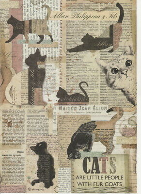 Rice Paper - Cats and Newspapers - for Decoupage Scrapbook Craft