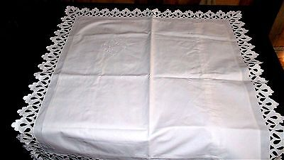 French antique heavily hand embroidered mono BD Richelieu lace sham pillow case