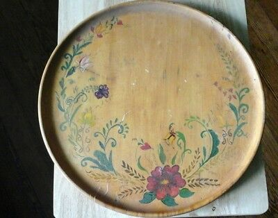 """Vintage Large 15 1/2 """"Round Wooden Tray Platter Handpainted multiple  Flowers"""