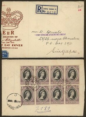 Hong Kong 1953 - Registered cover to Singapore
