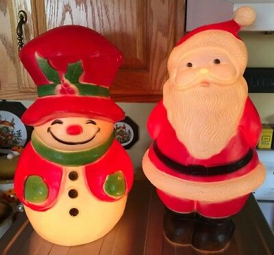 2 Old Vintage Christmas Union Blow Mold Snowman Santa WORK LIGHTED