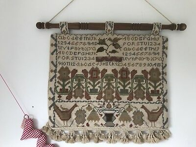 Irish Celtic Traditional Tapestry Velvet Completed Wall Hanging With Wooden Rod