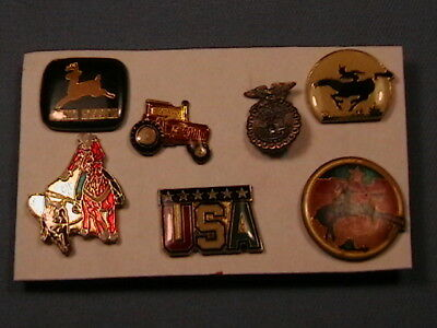7 Vintage Pinback Lapel-Hat Pin John Deere Tractor Usa Rodeo Calf Roping,bronco