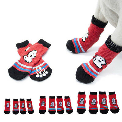 Dog Cat Socks Breathable and Protect Paws with Soft Nonslip Soles Red