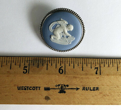 A Fine Wedgwood Blue Jasper Cupid Medallion In A Silver Frame, 1900