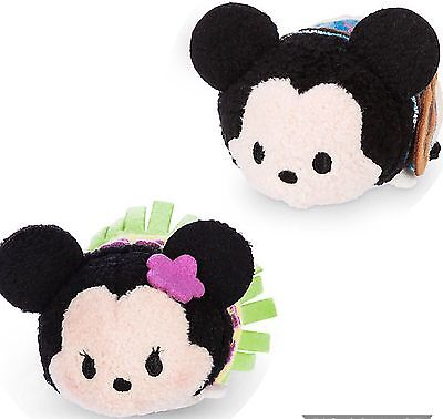 Disney Store HAWAIIAN MINNIE and HAWAIIAN MICKEY Tsum Tsum Plush Mini - 3 1/2''