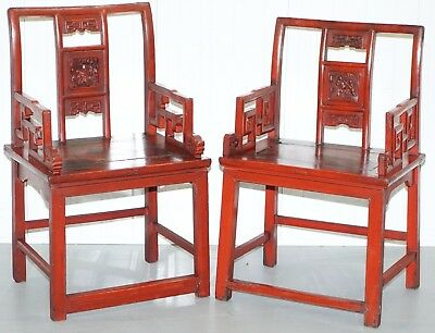 Pair Of Antique 19Th Century Chinese Red Lacquered Chairs Lotus Leaf & Birds