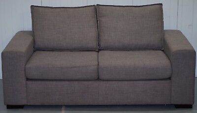 French Palomino Upholstery Square Contemporary Shark Tooth Two Seater Sofa