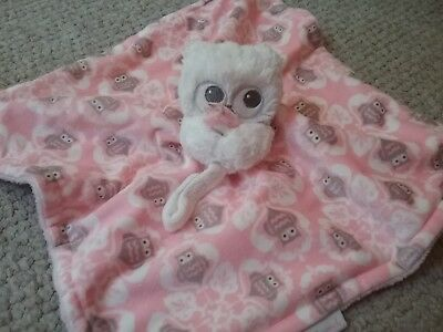 Blankets and Beyond Baby Pink White Owl Security Lovey Plush Blanket So soft