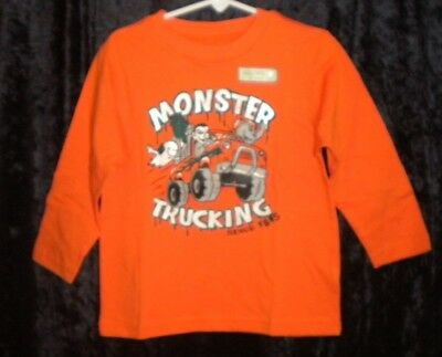 "Nwt Oshkosh Sz 3T Boys Orange Halloween Shirt ""monster Trucking"" Ghost"
