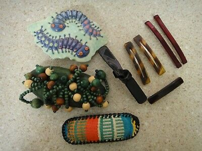 Lot 9 Vintage Hair clips wood beads, ceramic, faux tortoise shell, leather
