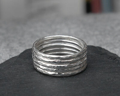 Set of 5 x Elegant Sterling Silver Stacking Rings - Any size