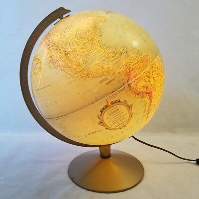 Vintage world globe gold brass metal frame and stand holder 499 vintage replogle lighted world globe 12 lamp light gold tone raised relief gumiabroncs Gallery
