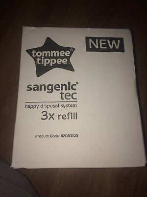 3 X Tommee Tippee Sangenic Tec  Nappy Disposal System Refills (New In Box)