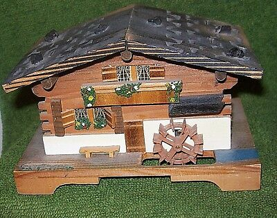 Vintage JEC Water Wheel Swiss Chalet Hand Crafted Wooden Music Box