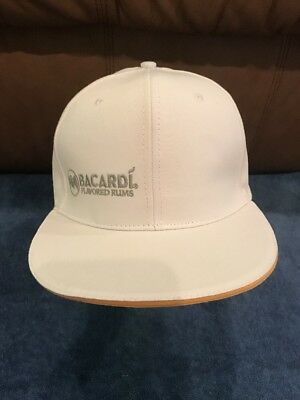 BACARDI FLAVORED RUMS ADJUSTABLE BALL CAP HAT! WHITE EUC Worn Once