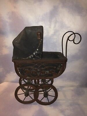 Vintage wicker Wood Metal Victorian Baby Doll Buggy Carriage Stroller