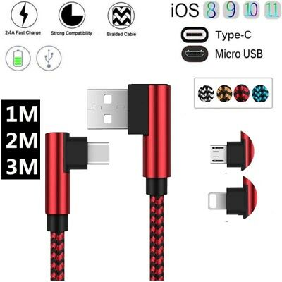 Strong Braided Nylon Fast Type C IOS&Micro USB Data Sync Charger Charging Cable