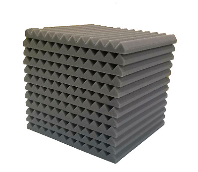 "48 Pack 1"" x 12"" x 12"" Acoustic Foam Tiles Panel Wedge Studio Soundproofing Wall"