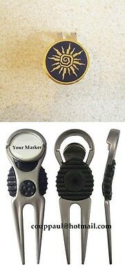 2  only DARK SUN GOLF BALL MARKERS PACKAGE WITH NICE DIVOT TOOL &  HAT CLIP