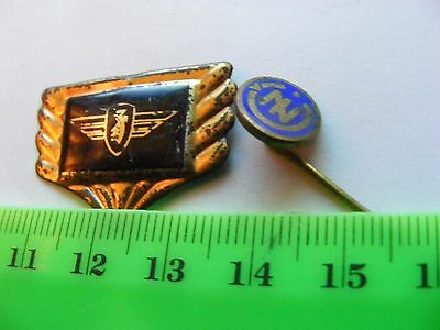ZUNDAPP  motorcycle: Lot of 2 very old  pin badges..1 tinplate/1 enamel.