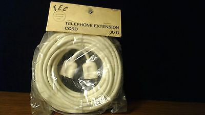 NEW Vintage 4 prong Telephone Phone Wire Extension Cord TEC 30 FEET NIP