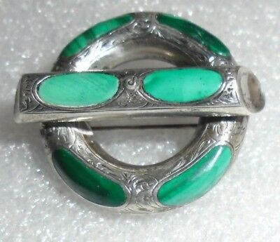 fine antique Scottish sterling silver malachite circle bar pin
