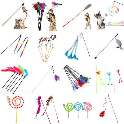 30 Style Cat Kitten Pet Teaser Turkey Feather Interactive Toy Wire Chaser Wand