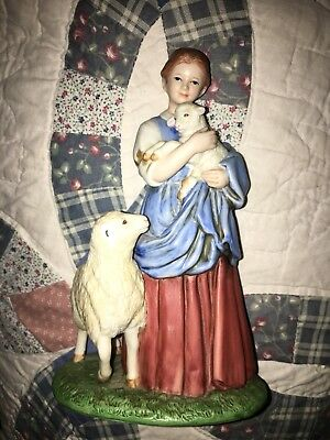 Homco 8870 Lady Shepherd's Daughter figurine Sheep Lamps