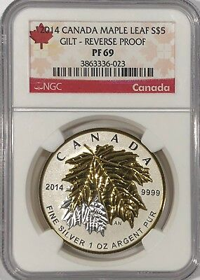 2014 $5 Canada Silver Maple Leaf Gold Gilt Ngc Pf69 Reverse Proof 1 Oz