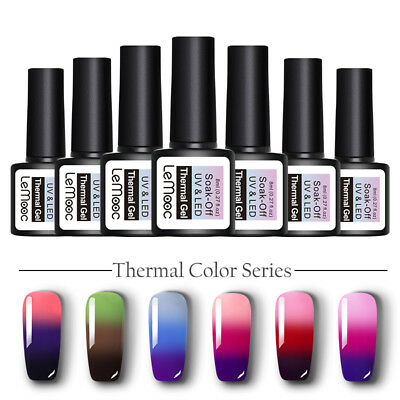 LEMOOC 8ml Nail UV Gel Polish Color Changing Thermal Soak off Nail Art UV/LED