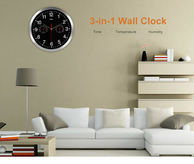 32cm Silent Wall Metal 3 in 1 - Clock + Thermometer + Hygrometer