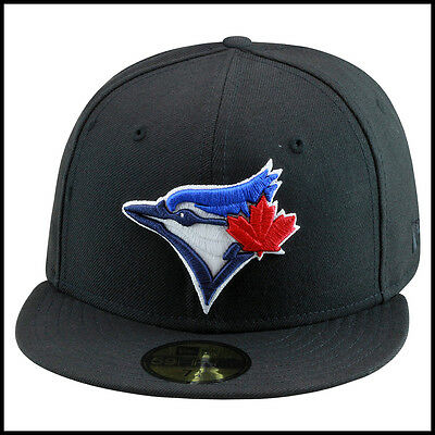 New Era 59fifty Toronto Blue Jays Fitted Hat Cap All BLACK/Current Logo mlb