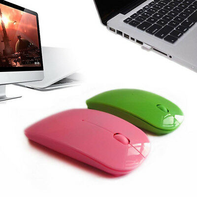 Portable Pink 24GHz Wireless Ultra-thin Mouse USB Optical Laptop Macbook Supply
