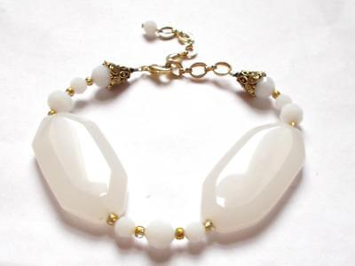 Vintage 60's Chunky White Quartz & White Glass Beaded Beads Gold Tone Bracelet