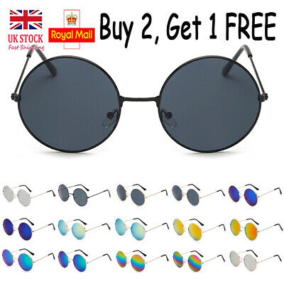 Mens Ladies Retro Round Sunglasses Womens Vintage 80s Eyewear Metal Sun Glasses
