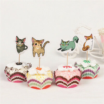 24pcs cat cupcake toppers picks birthday party decoration kids favors christmas