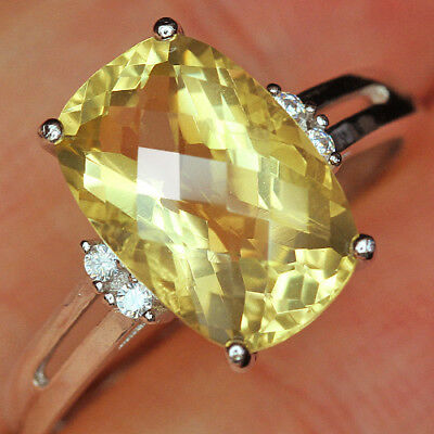 12.5Ct 100% Natural 18K Gold Plated Unique Lemon Citrine Faceted Ring UDQL52