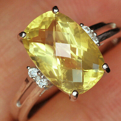 12.1Ct 100% Natural 18K Gold Plated Unique Lemon Citrine Faceted Ring UDQL57