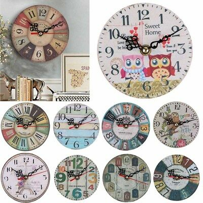 DIY Large Rustic Wall Clock Home Decor Vintage Retro Antique Shabby Chic Design