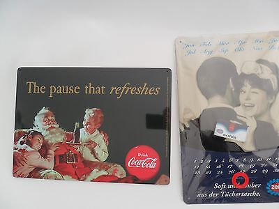 Coca Cola Blechschild   The pause that refreshe und Zewa Kalender