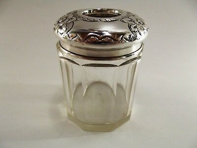Antique Dressing Table Tidy With Silver Lid Birmingham 1908 Ref 75/6