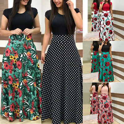 UK Womens Boho Floral Maxi Summer Beach Long Skirt Evening Cocktail Party Dress