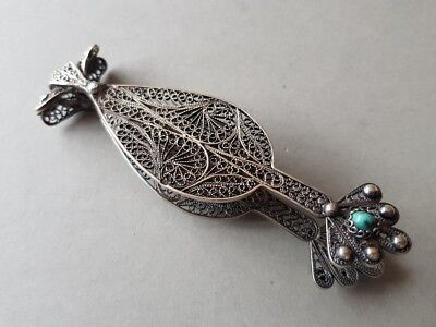 GORGEOUS ANTIQUE Ottoman SILVER filigree Clip Holder with turquoise + HOLLMARKS