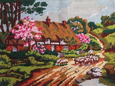 "VINTAGE FRENCH 23.5"" x 18"" TAPESTRY THATCHED COTTAGE GARDEN COMPLETED 60x45cm"
